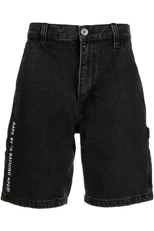 AAPE BY A BATHING APE Logo embroidered denim shorts