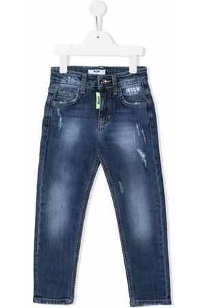 MSGM Kids Distressed logo-print jeans