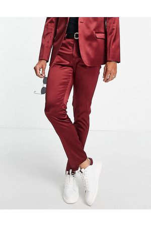 ASOS Skinny high shine suit trousers in burgundy
