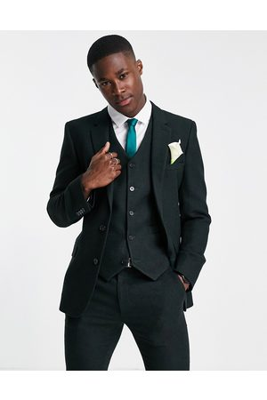 ASOS Wedding super skinny wool mix suit jacket in forest green twill
