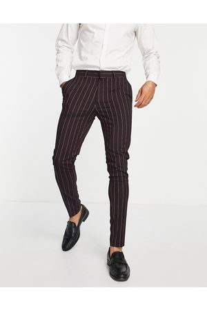 ASOS Skinny suit trousers with pinstripe in burgundy