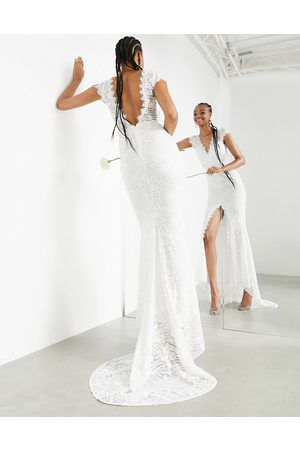 ASOS Madeline cap sleeve lace wedding dress with fishtail