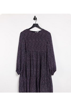 Pieces Maternity Smock mini dress in navy ditsy floral