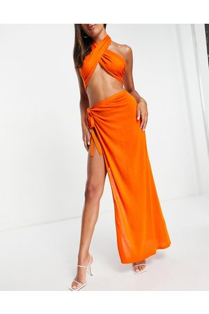 ASOS Lightweight knit split beach maxi skirt co ord in orange