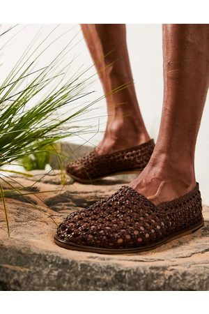 ASOS Loafers in tan woven leather