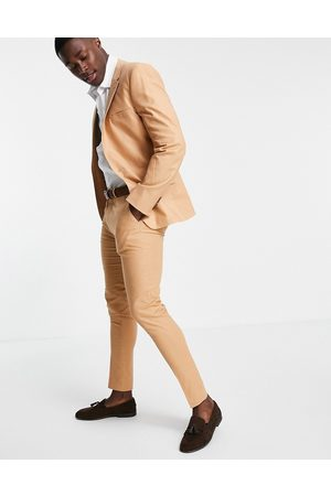 ASOS Super skinny suit trousers in tan cotton linen