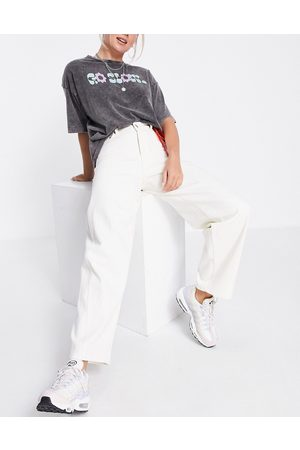 Weekday Lara organic blend cotton wide leg trousers with v front in white