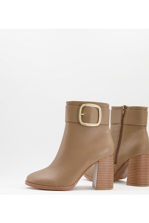 ASOS Wide Fit Repeat block heel buckle boots in taupe