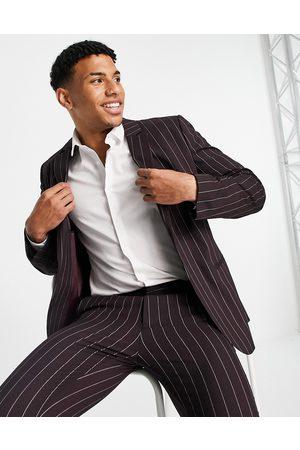 ASOS Skinny suit jacket with pinstripe in burgundy