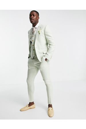 ASOS Wedding super skinny wool mix suit trousers in pastel green twill