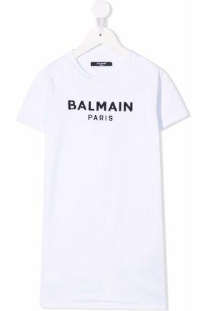 Balmain Niña Estampados - Logo-print T-shirt dress