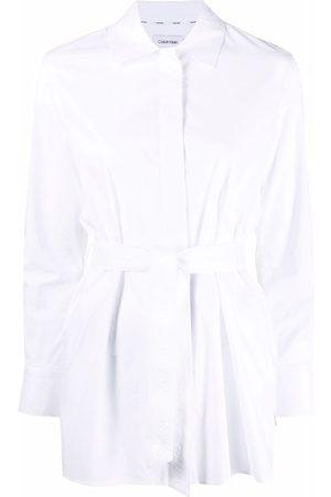 Calvin Klein Mujer Camisas - Tied-waist cotton shirt