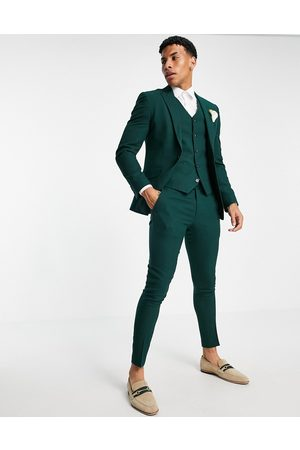 ASOS Wedding super skinny suit trousers in forest green micro texture