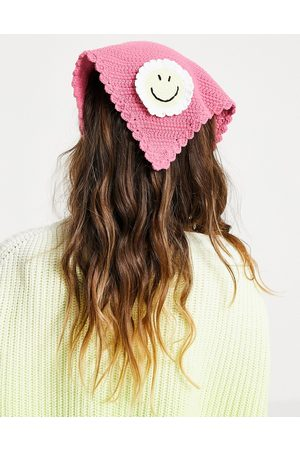 ASOS Crochet headscarf with happy face in pink