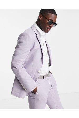 ASOS Super skinny suit jacket in pastel lilac cotton linen