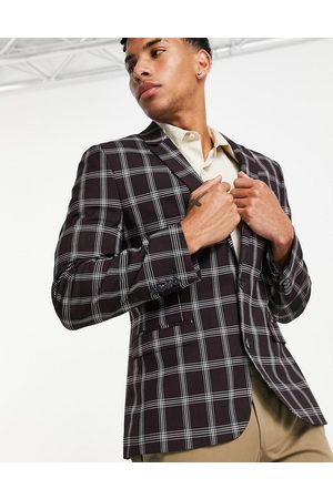 ASOS Wedding skinny suit jacket with window check in burgundy