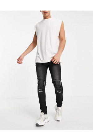 Soul Star Slim fit biker jeans in black