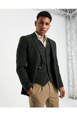 ASOS Super skinny wool mix suit jacket in khaki tweed