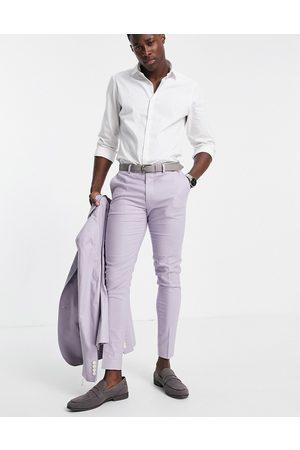 ASOS Super skinny suit trousers in pastel lilac cotton linen
