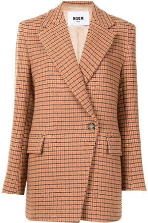 Msgm Mujer Sacos - Off-centre fastening checked blazer