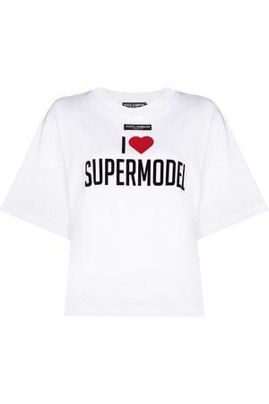Dolce & Gabbana Mujer Playeras - Supermodel print oversized T-shirt