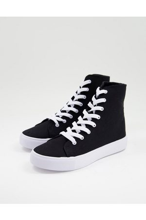 ASOS Daz canvas high top trainers in black