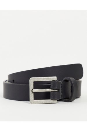 ASOS DESIGN Leather skinny belt in black with silver buckle