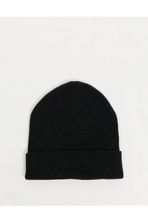ASOS Recycled blend deep turn up beanie hat in black