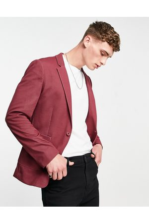 ASOS Skinny soft tailored suit jacket in burgundy jersey