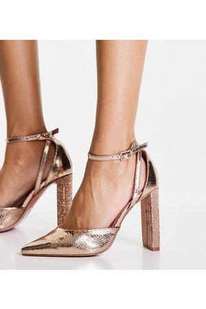 ASOS Wide Fit Praise embellished high heeled shoes in rose gold