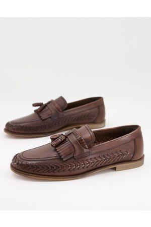 WALK LONDON Arrow woven loafers in brown leather