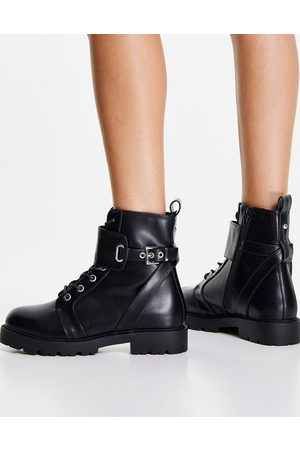 ASOS Aria lace up hardware boots in black