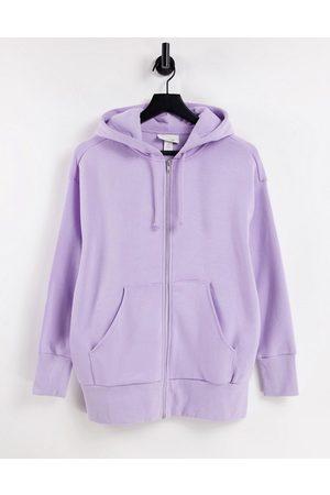 Monki Joa organic cotton zip front hoodie in lilac