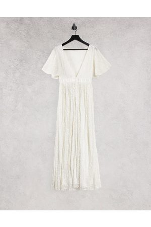 Beauut Bridesmaid sequin allover embellished maxi dress with sleeve in ivory