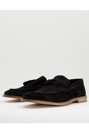 ASOS Loafers in black suede with tassel on natural sole
