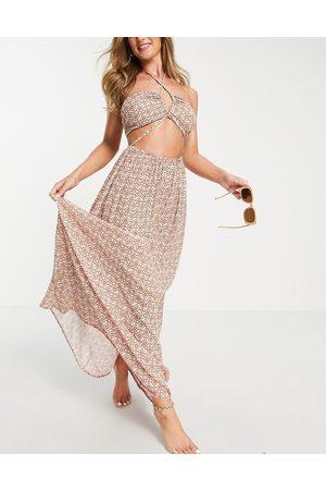 ASOS Strappy maxi beach dress in pretty tile print