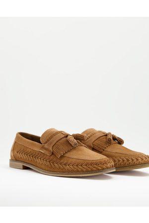 WALK LONDON Arrow woven loafers in tan suede