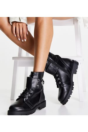 ASOS Wide Fit Aria lace up hardware boots in black