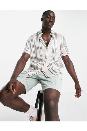 ASOS Relaxed stripe shirt in pink satin