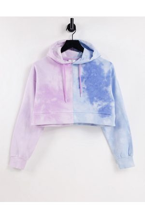 Chelsea Peers Organic cotton contrast tie dye cropped hoodie in lilac and blue