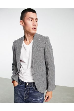 Twisted Tailor Suit jacket in prince of wales check with chain detail