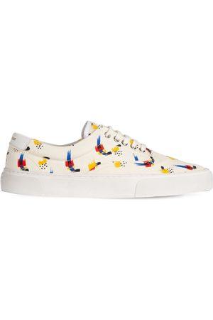 Saint Laurent Sneakers De Lona De Algodón Estampado