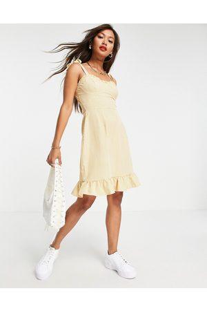 Urban Threads Mujer Cortos - Tie strap satin mini dress in gingham
