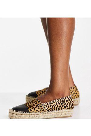Solillas Solilas Exclusive leopard effect flatform espadrilles with black toe cap