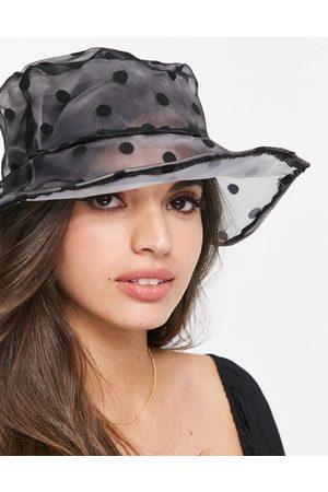 My Accessories London bucket hat in sheer polka dot