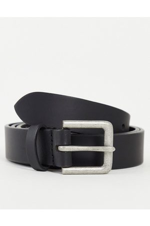 ASOS Leather slim belt in black with silver buckle