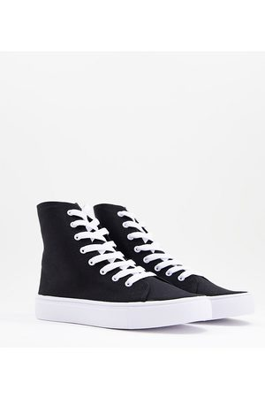 ASOS Wide Fit Daz canvas high top trainers in black