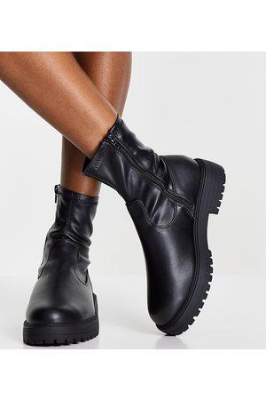 ASOS Wide Fit Anton sock boot in black
