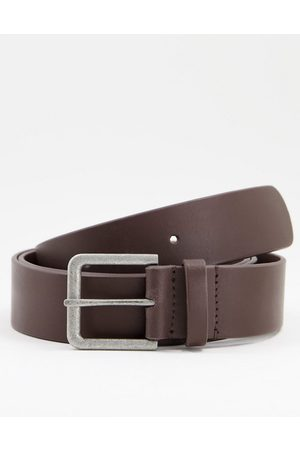 ASOS Leather wide belt in brown with antique silver buckle