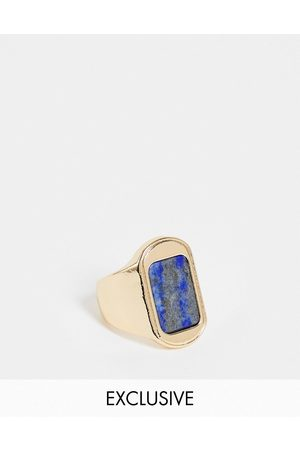 Reclaimed Inspired signet ring with blue stone in gold